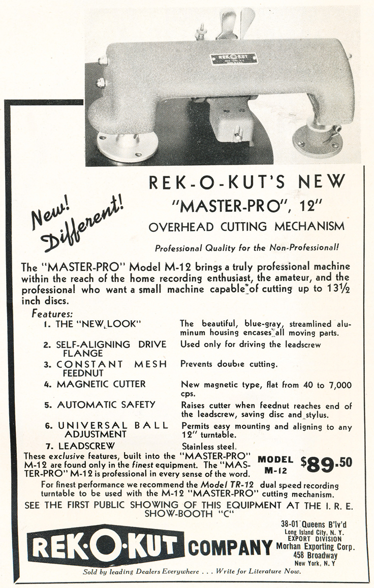 1948 ad for the Rek-O-Kut record cutter company in Reel2ReelTexas.com's vintage recording collection