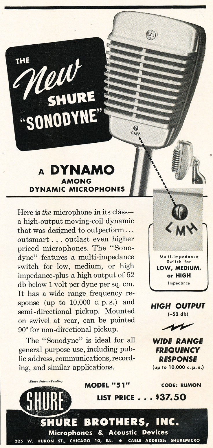 1948 ad for the Shure 51 microphone in Reel2ReelTexas.com's vintage recording collection