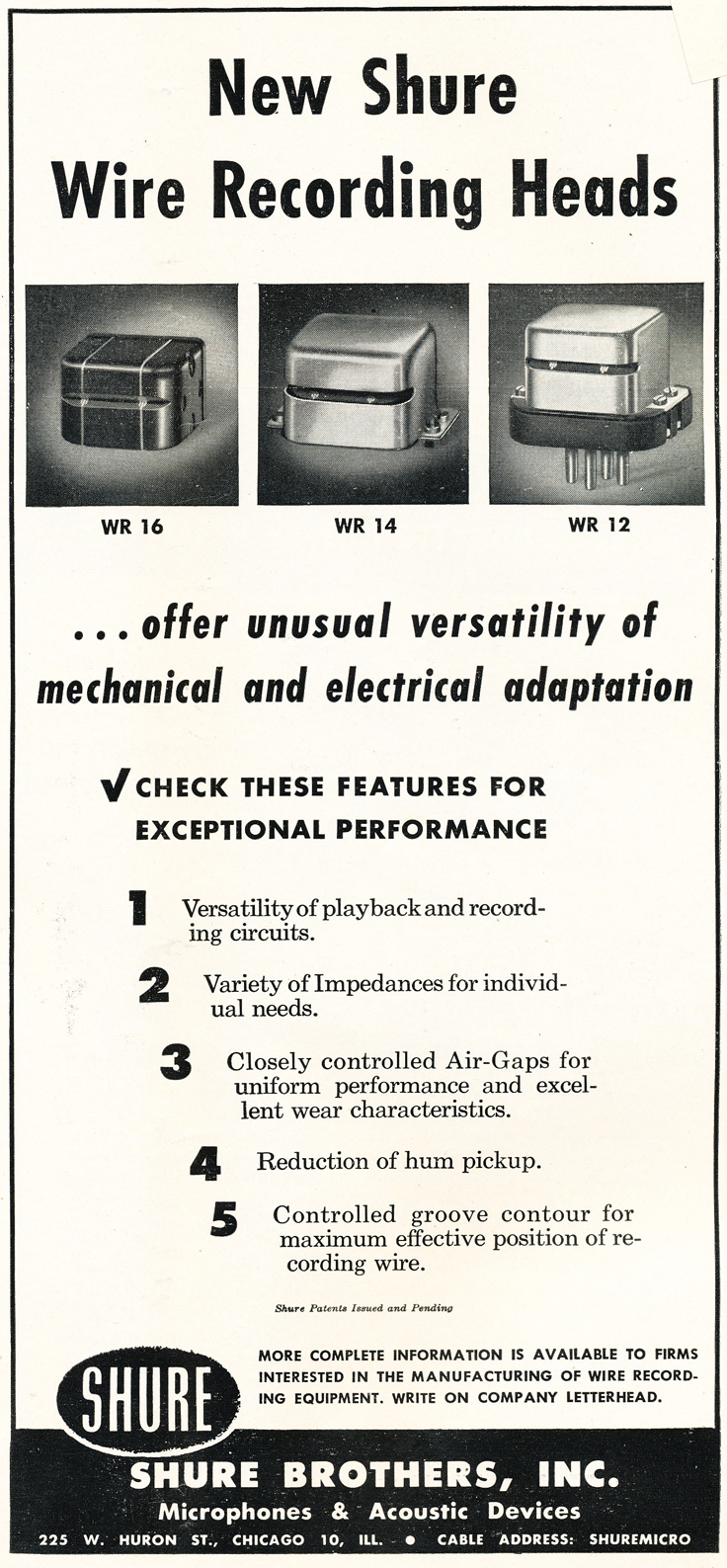 1948 ad for Shure reel tape recorder heads in Reel2ReelTexas.com's vintage recording collection