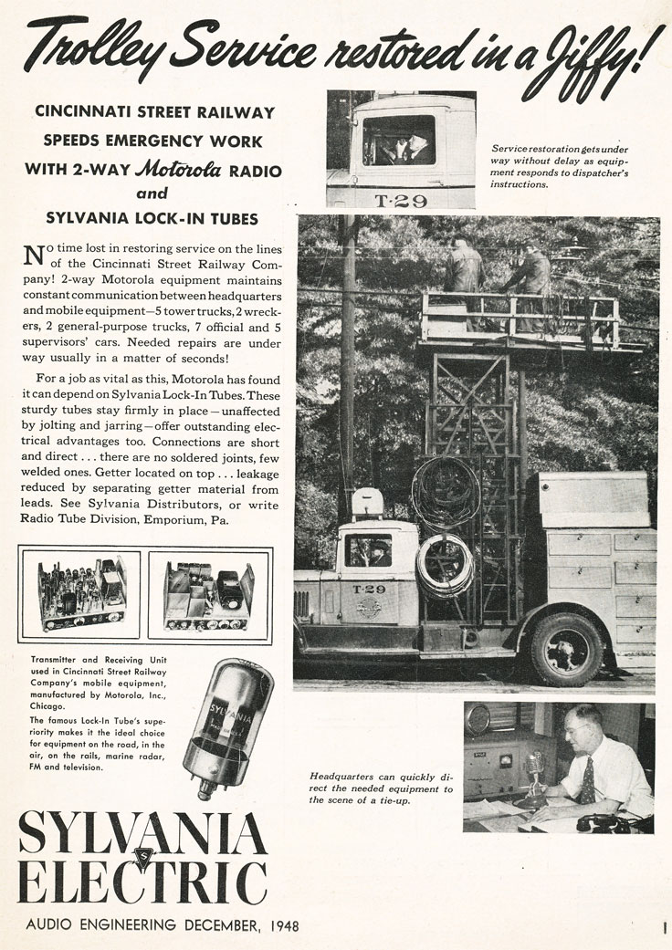 1948 ad for Sylvania Electric  in Reel2ReelTexas.com's vintage recording collection