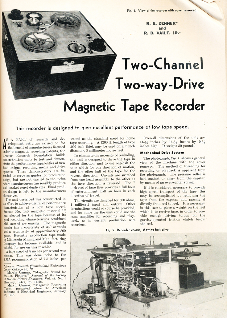 Article on a two way drive reel tape recorderin Reel2ReelTexas.com's vintage recording collection