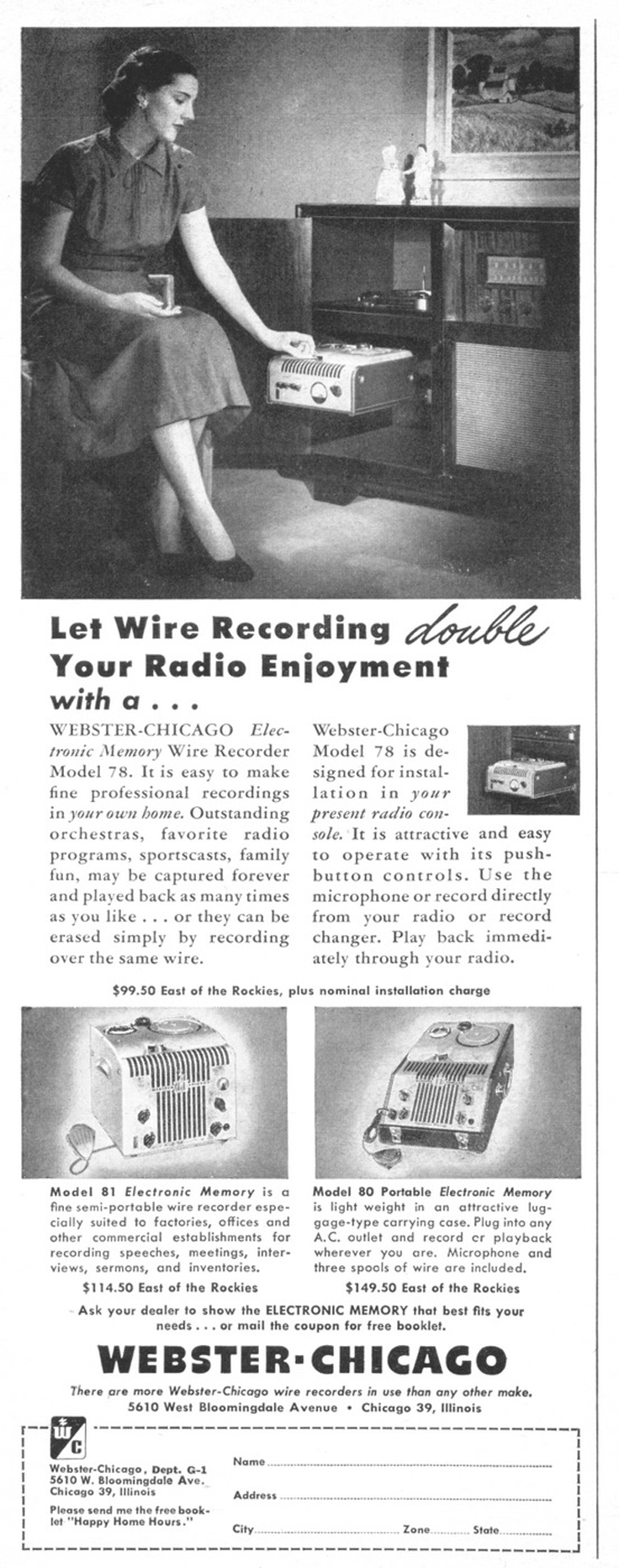 1948 Webster wire 78 ad in   Reel2ReelTexas.com's vintage reel tape recorder collection