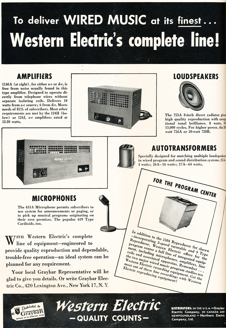 1948 ad for Western Electric in Reel2ReelTexas.com's vintage recording collection