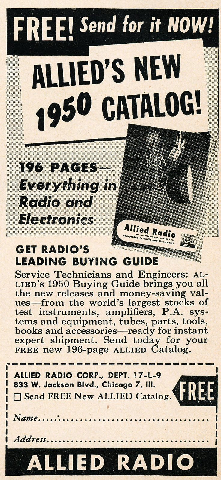 1949 ad for the 1950 Allied Radio catalog in Reel2ReelTexas.com's vintage recording collection