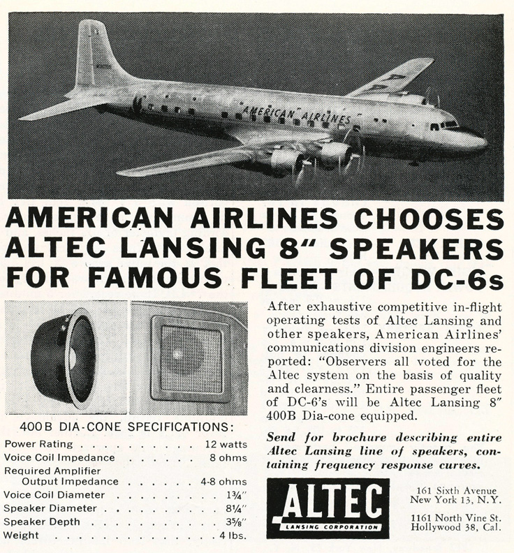 1949 Altec lansing ad featuring their American Airlines sound system in Reel2ReelTexas.com's vintage recording collection
