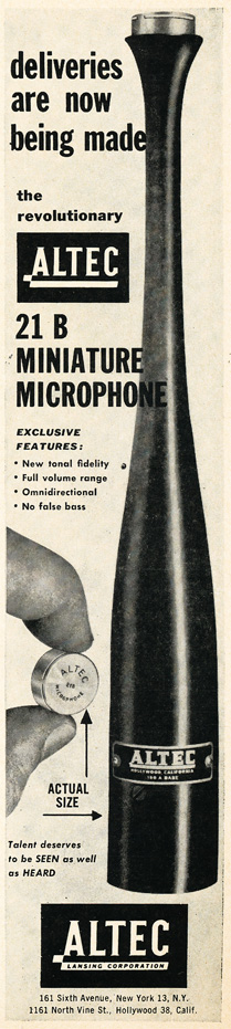 1949 Altec lansing ad featuring their microphones  in Reel2ReelTexas.com's vintage recording collection