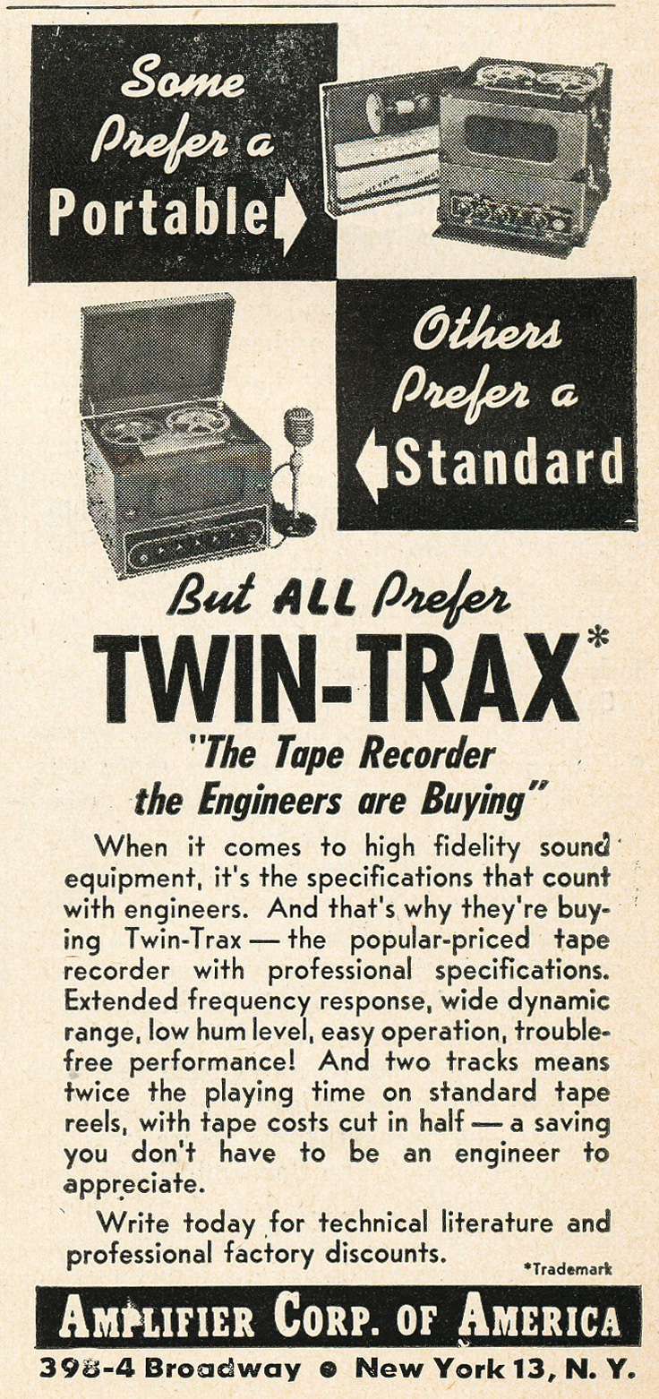 1949 ad for Amplifier Corporation's Twin Traks in Reel2ReelTexas.com's vintage recording collection