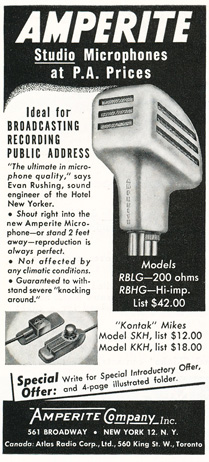 1949 Amperite microphone ad in Reel2ReelTexas.com's vintage recording collection