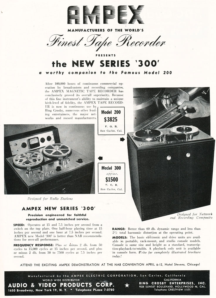 1949 ampex 200A and 300 professional reel to reel tape recorder in Reel2ReelTexas.com's vintage recording collection