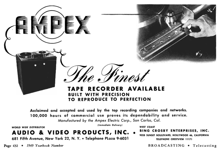 1949 Ampex 200A Bing Crosby Enterprises ad  in Reel2ReelTexas.com's vintage recording collection
