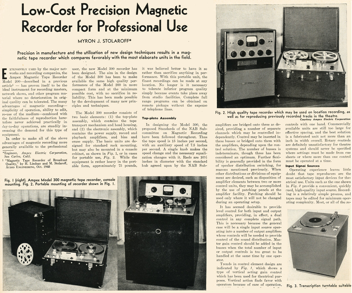 1949 review of the Ampex 300 professional reel to reel tape recorder in Reel2ReelTexas.com's vintage recording collection