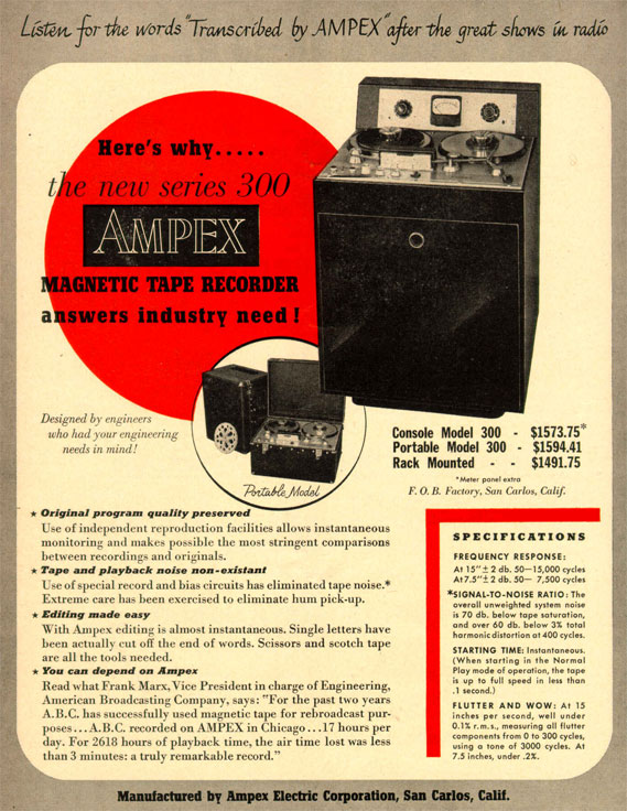 pcture of 1949 ad for Ampex tape recorders
