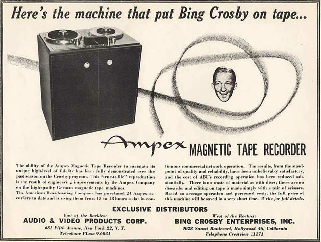1949 Ampex 200A Bing Crosby Enterprises ad featuring Bing Crosby in Reel2ReelTexas.com's vintage recording collection