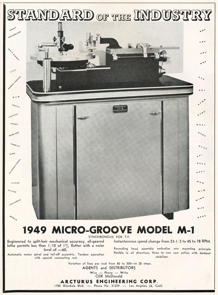 1949 ad for Arcturas' Micro-Groove Model M-1 record cutter in Reel2ReelTexas.com's vintage recording collection