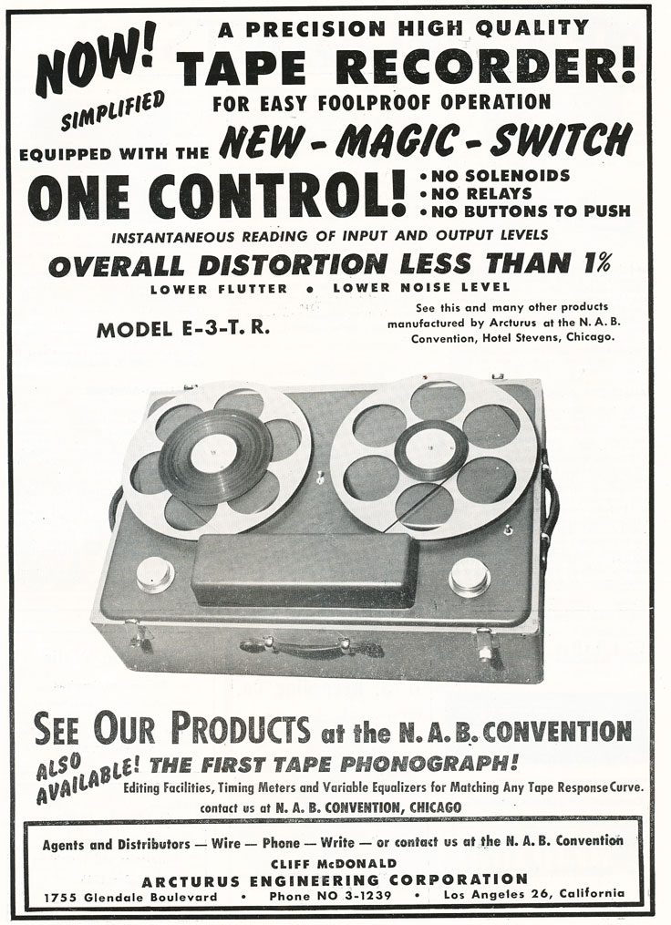1949 ad for Arcturas' Micro-Groove Model E-3-.7.R reel to reel tape recorder  in Reel2ReelTexas.com's vintage recording collection
