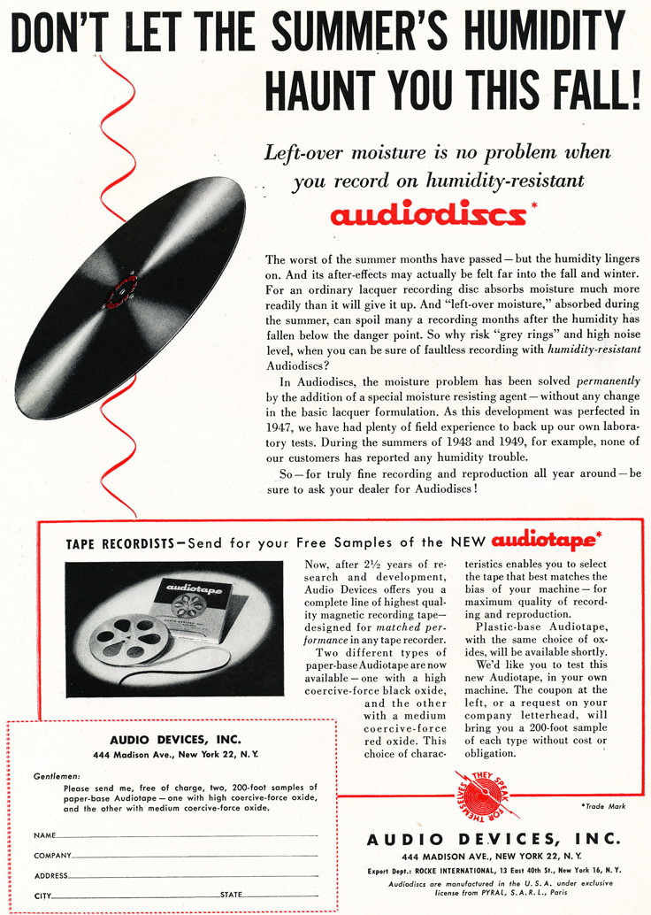 1949 ad for Audio Devices products in Phantom Production's vintage recording collection