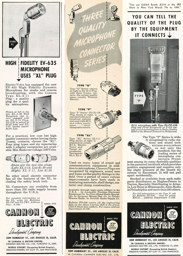 1949 ad for Cannon products in Phantom Production's vintage recording collection