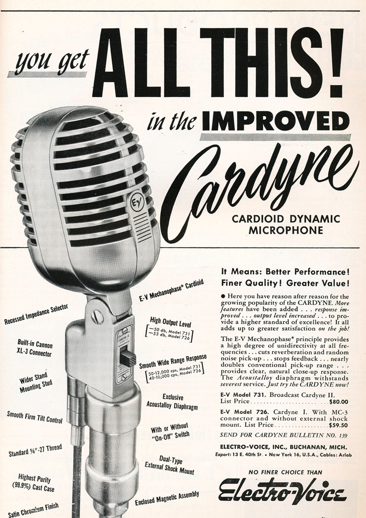 1949 ad for Electro Voice Cardyne microphone in Reel2ReelTexas.com's vintage recording collection