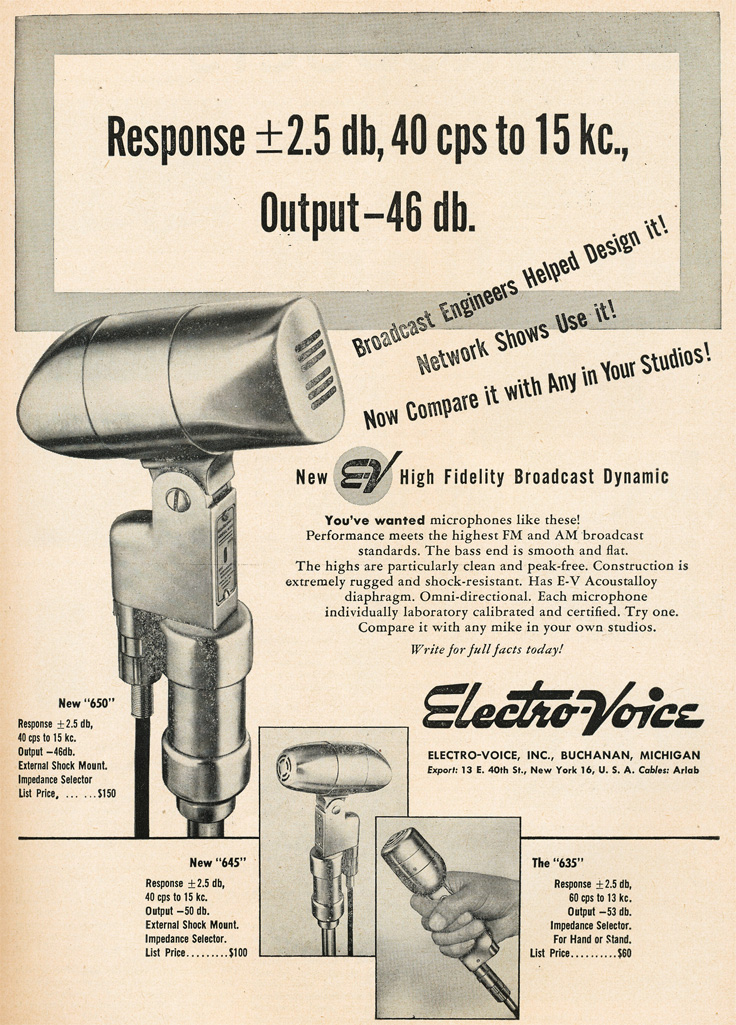 1949 ad for Electro Voice 635, 645 and 650 microphones in Reel2ReelTexas.com's vintage recording collection