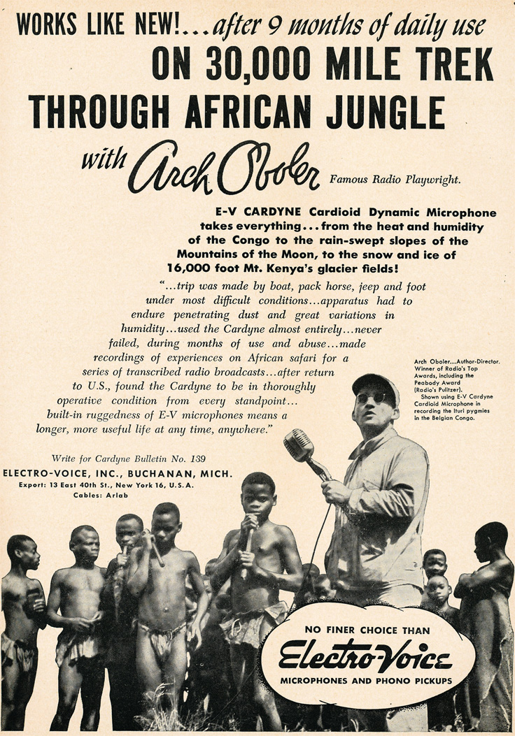 1949 ad for Electro Voice microphone endurance in Africa in Reel2ReelTexas.com's vintage recording collection