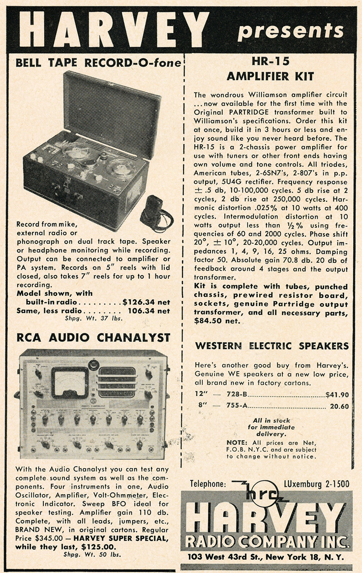 1949 Harvey's Radio Company ad featuring Bell reel to reel tape recorders in Reel2ReelTexas' vintage recording collection