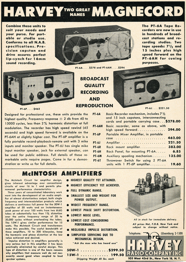 1949 Harvey's Radio Company ad featuring Magnecord reel to reel tape recorders in Reel2ReelTexas' vintage recording collection