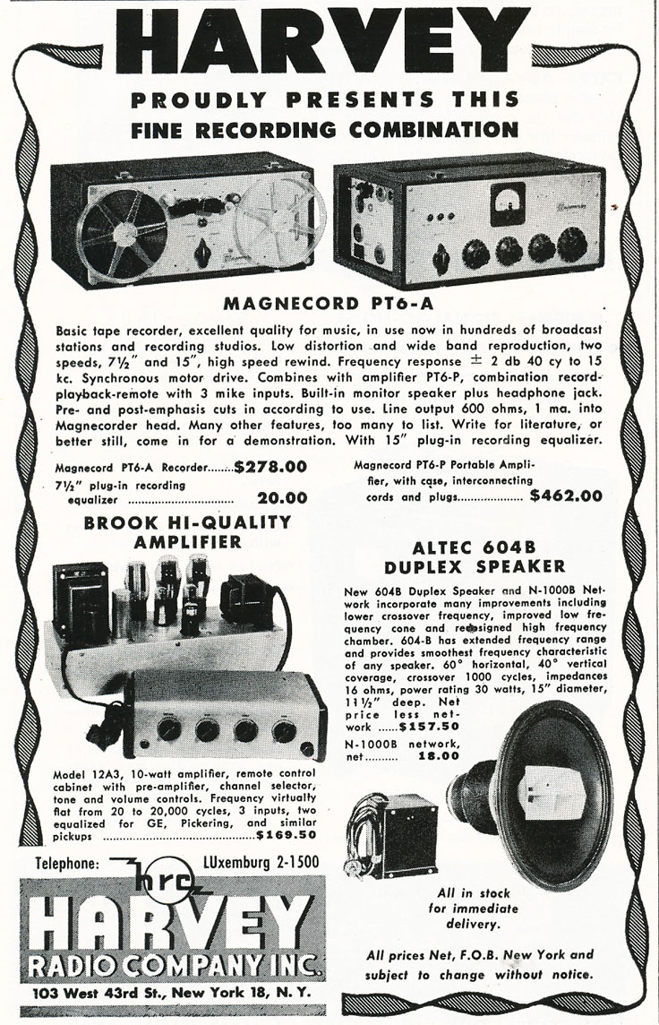 1949 Harvey's Radio Company ad featuring Magnecord reel to reel tape recorders in Reel2ReelTexas' vintage recording c