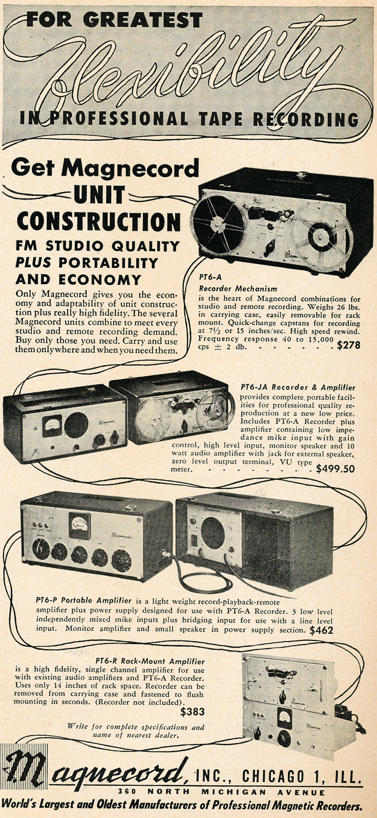 1949 ad for the Magnecord professional reel to reel tape recorders