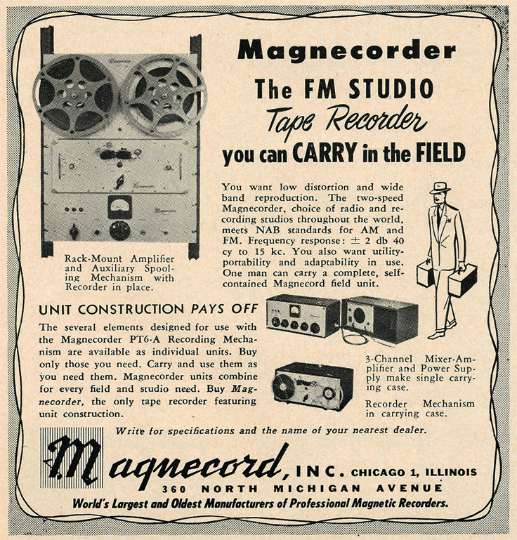 1949 ad for the Magnecord professional FM Studio reel to reel tape recorders