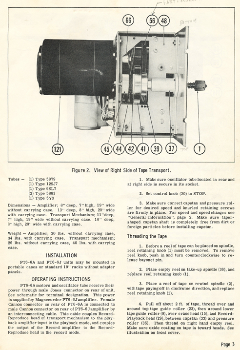 1949 Service manual for the Magnecord PT6 reel to reel tape rcorder in Phantom Productions' vintage tape recording collection