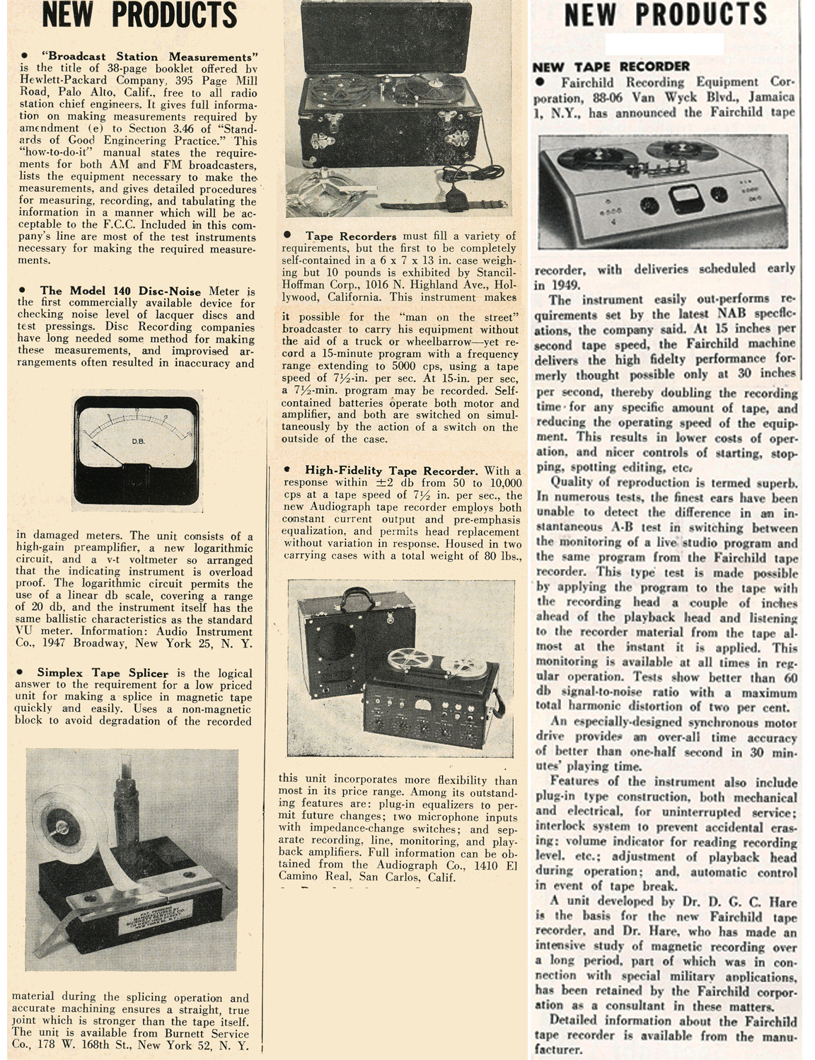 1949 listing of new products in Reel2ReelTexas.com's vintage recording collection