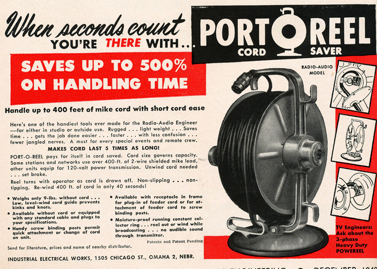 1949 ad for the PortaReel microphone cable wheel ad in Reel2ReelTexas.com's vintage recording collection