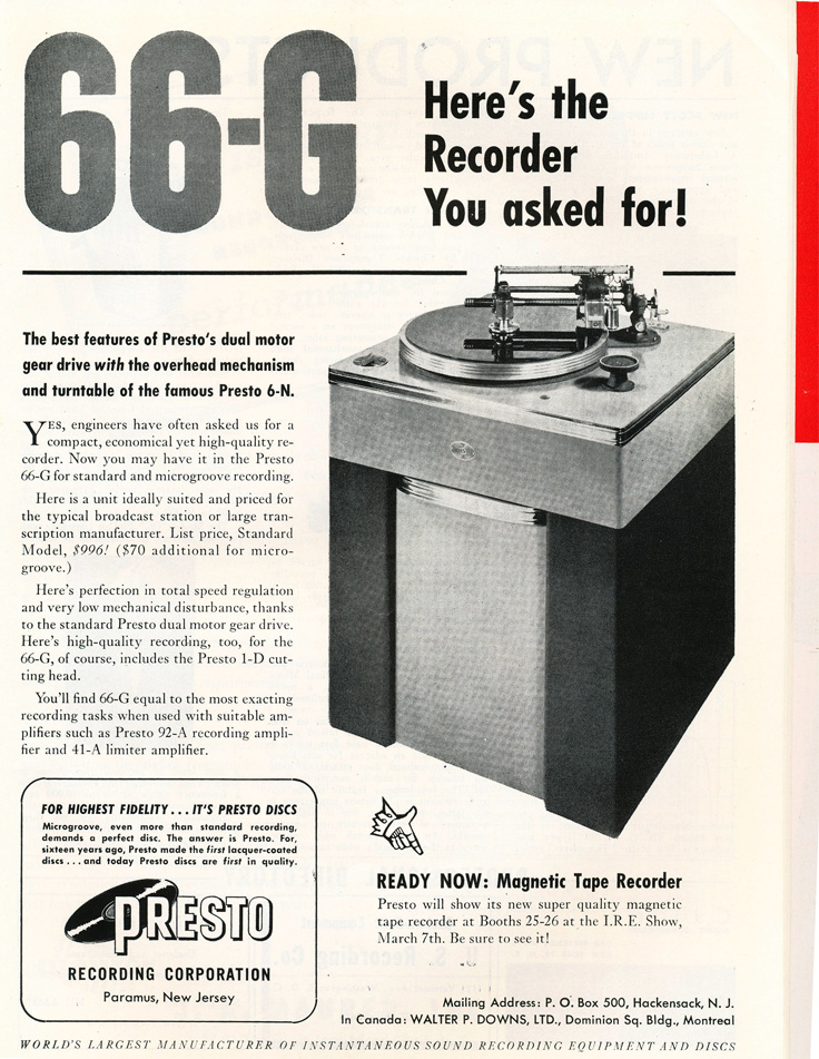 Presto ads from 1949 in the Museum of Magnetic Sound Recording