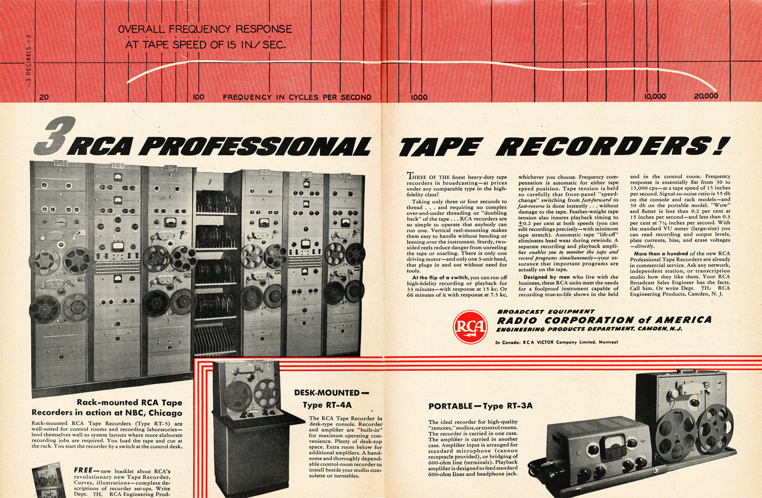 1949 RCA Professional reel to reel tape recorder ad in Reel2ReelTexas.com's vintage recording collection