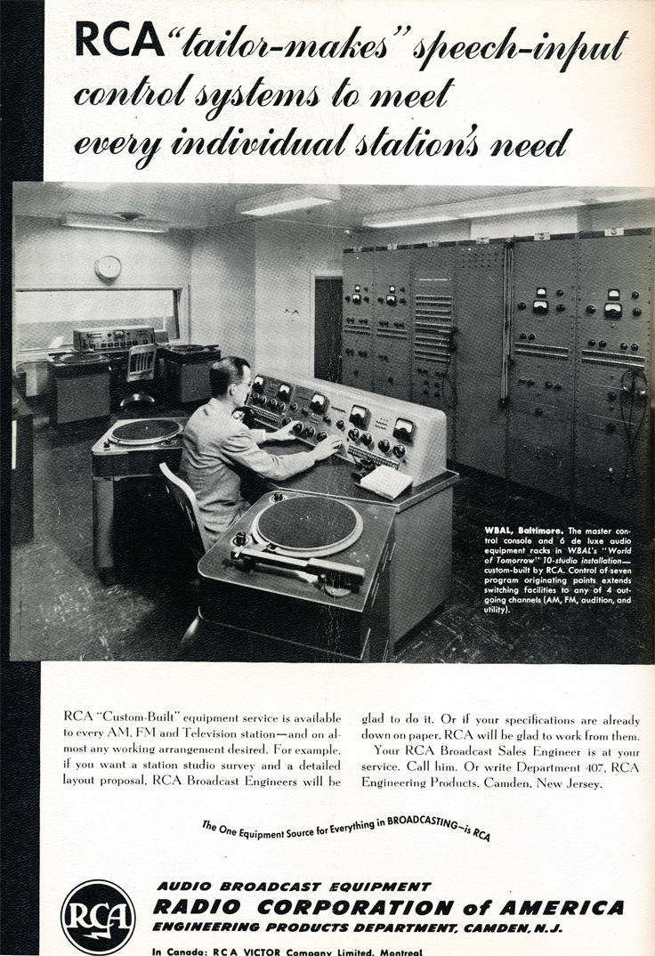 1949 RCA control equipment ad in Reel2ReelTexas.com's vintage recording collection