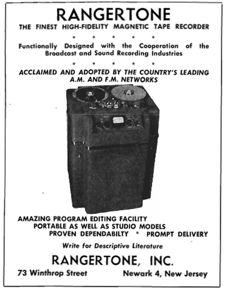 1949 ad for the Rangertone reel to rel tape recorder in Reel2ReelTexas.com's vintage recording collection