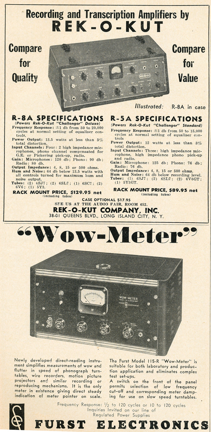 1949 Rek-O-Kut ad in Reel2ReelTexas.com's vintage recording collection