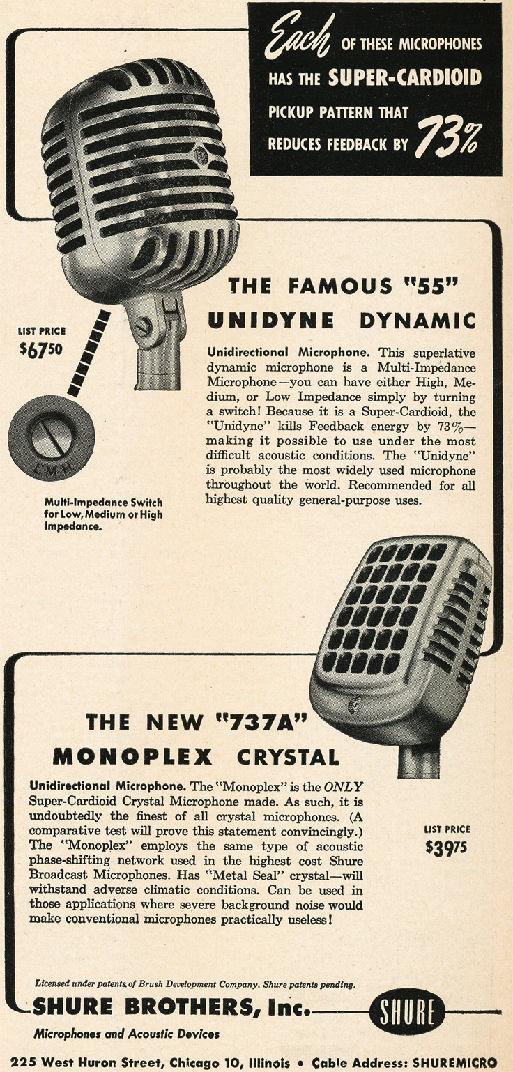1949 Shure 55 and 737 microphone ad in Reel2ReelTexas.com's vintage recording collection