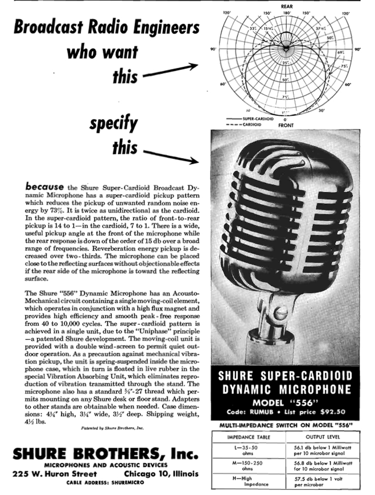 1949 Shure 556 microphone ad in Reel2ReelTexas.com's vintage recording collection