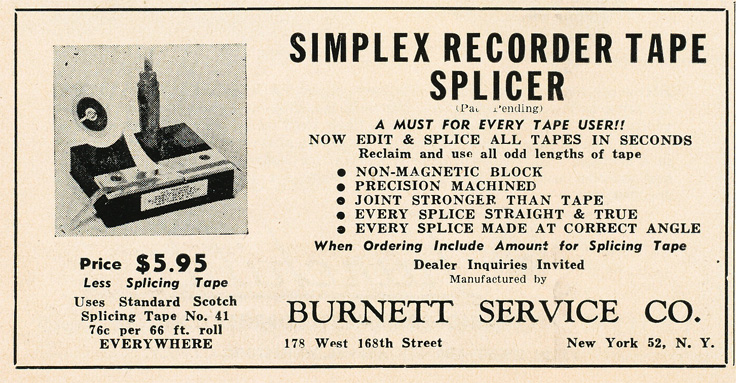 1949 ad for the Simplex Recorder Tape Splicer in Reel2ReelTexas.com's vintage recording collection