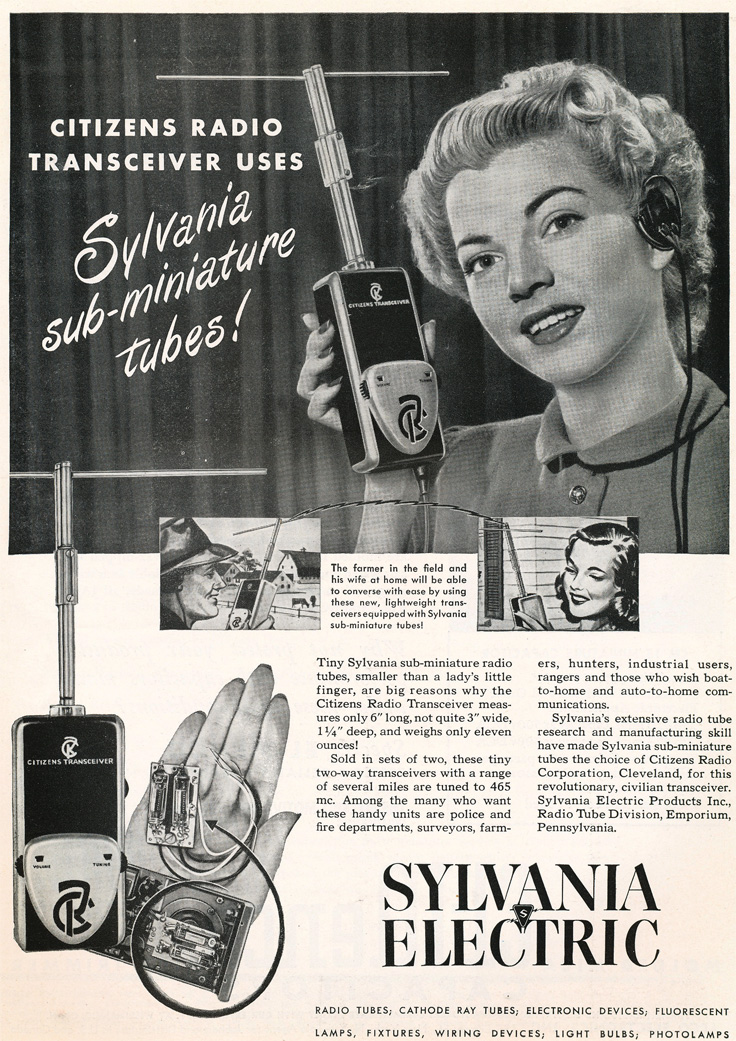 1949 Sylvania Electric CB transceiver ad in the Reel2ReelTexas.com's vintage recording collection