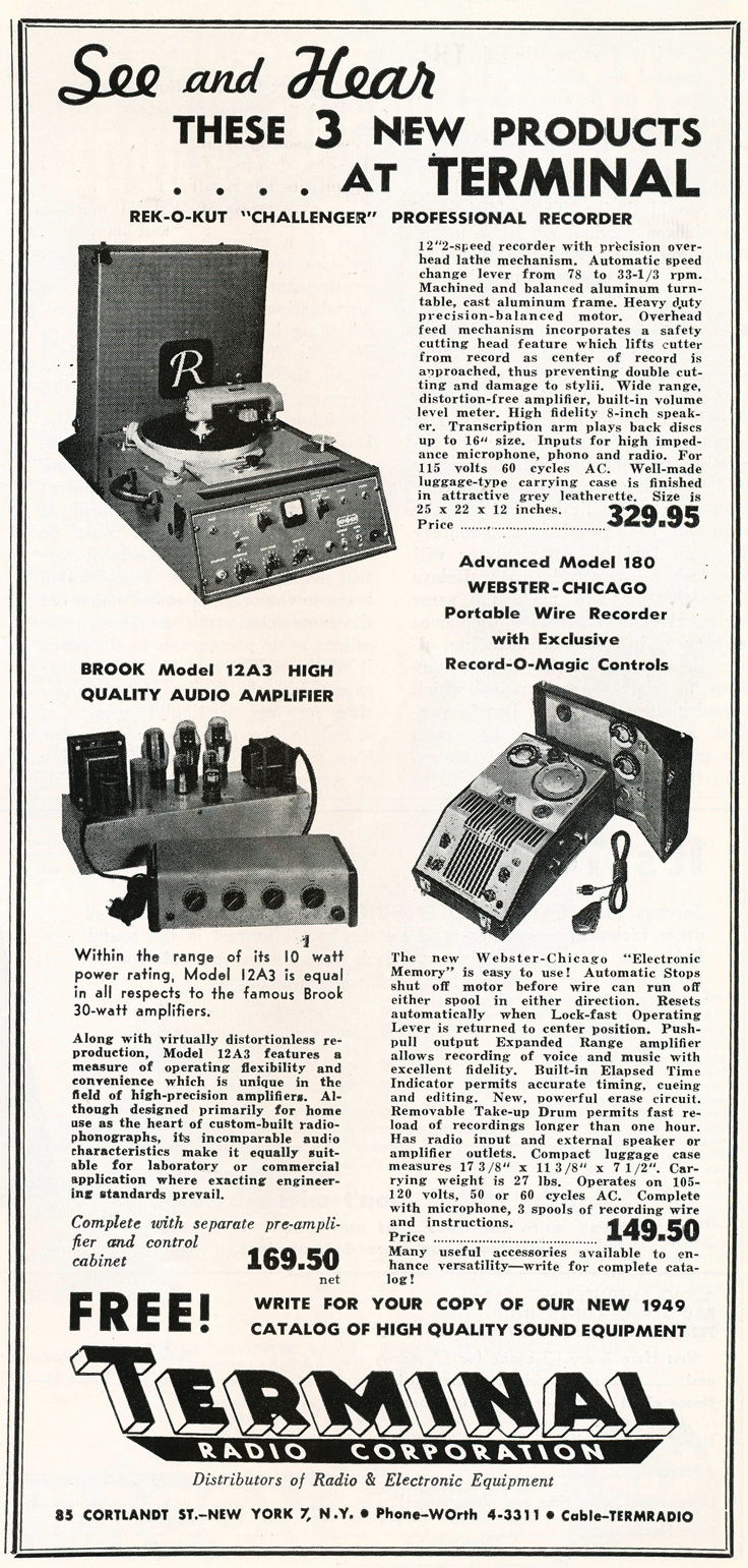 1949 Terminal Radio Corporation ad in Reel2ReelTexas.com's vintage recording collection