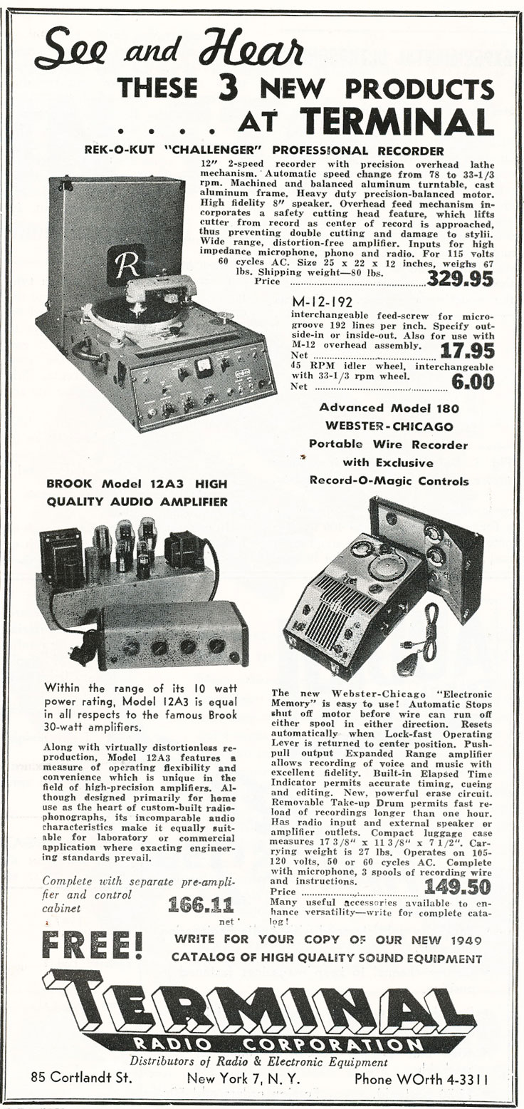 1949 Terminal Radio Corporation ad featuring Rek-O-Kut recorder cutter and Webster Chicago wire recorder in Reel2ReelTexas.com's vintage recording collection