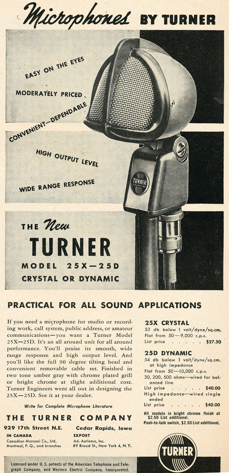 949 Turner 25X - 25 D microphones in Reel2ReelTexas.com's vintage recording collection