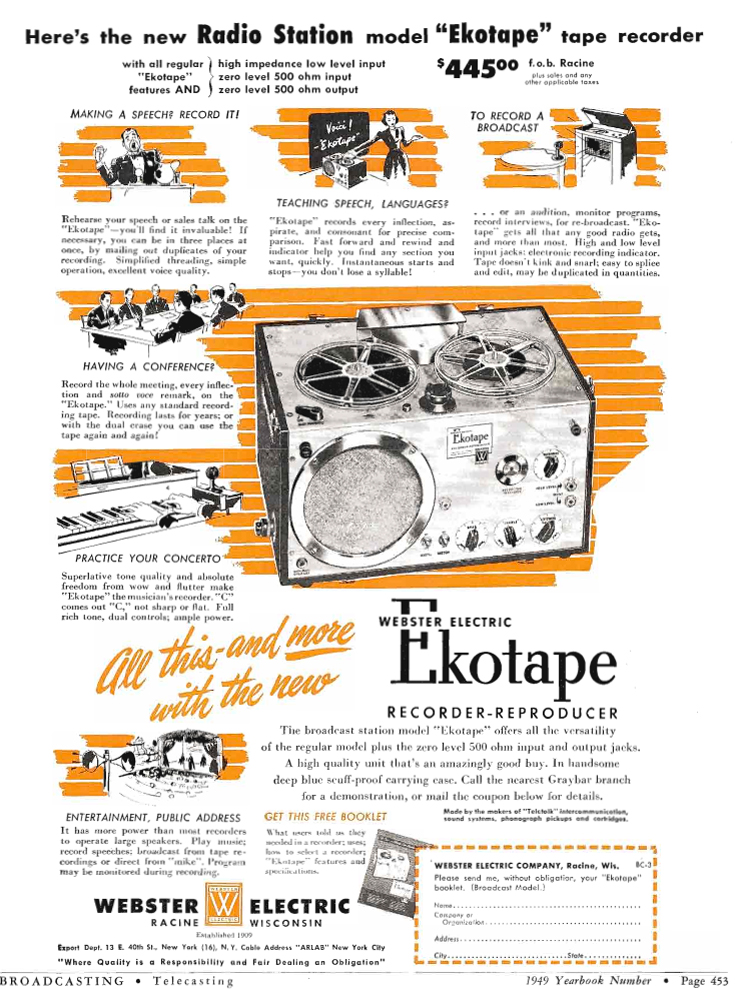 1949 ad for the Webster Electric Ekotape reel tape recorder in Reel2ReelTexas.com's vintage recording collection