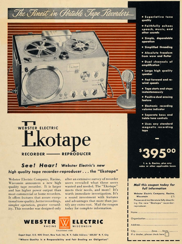 1949 ad for the  Webster Electric  EkoTape reel to reel tape recorder in the Reel2ReelTexas.com vintahe recording collection