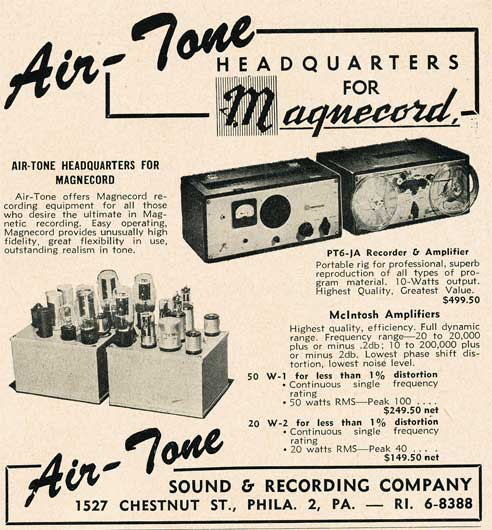 1950 Air-Tone ad featuring magnecord reel to reel  tape recorders in Reel2ReelTexas.com's vintage recording collection