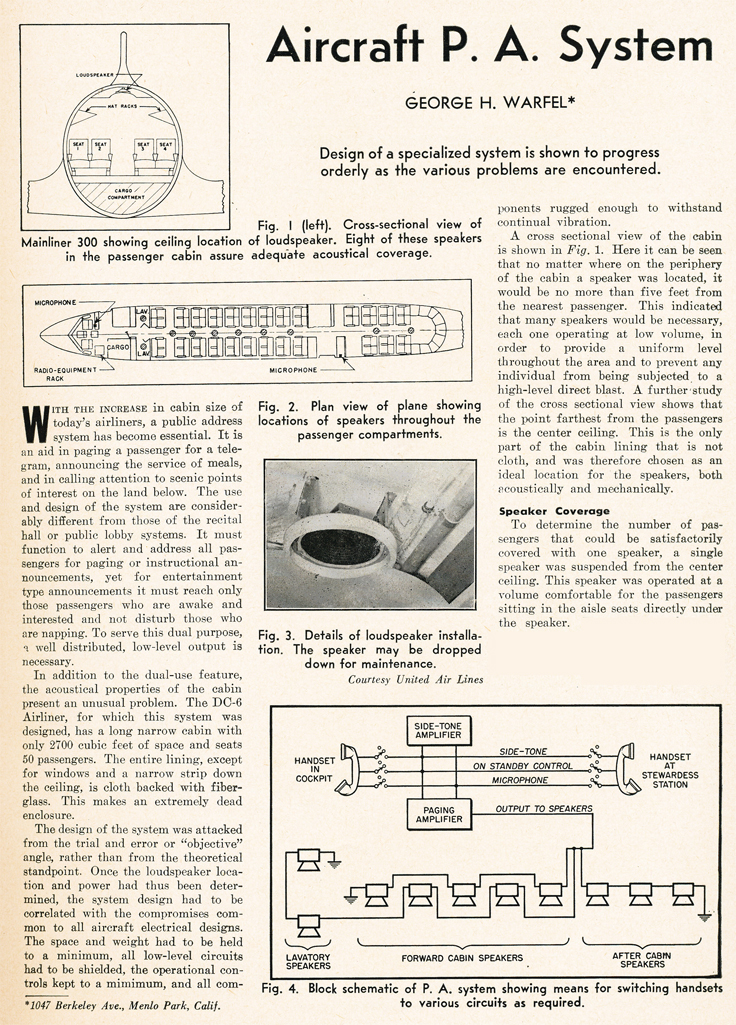 1950 article discussing adding audio to airliners