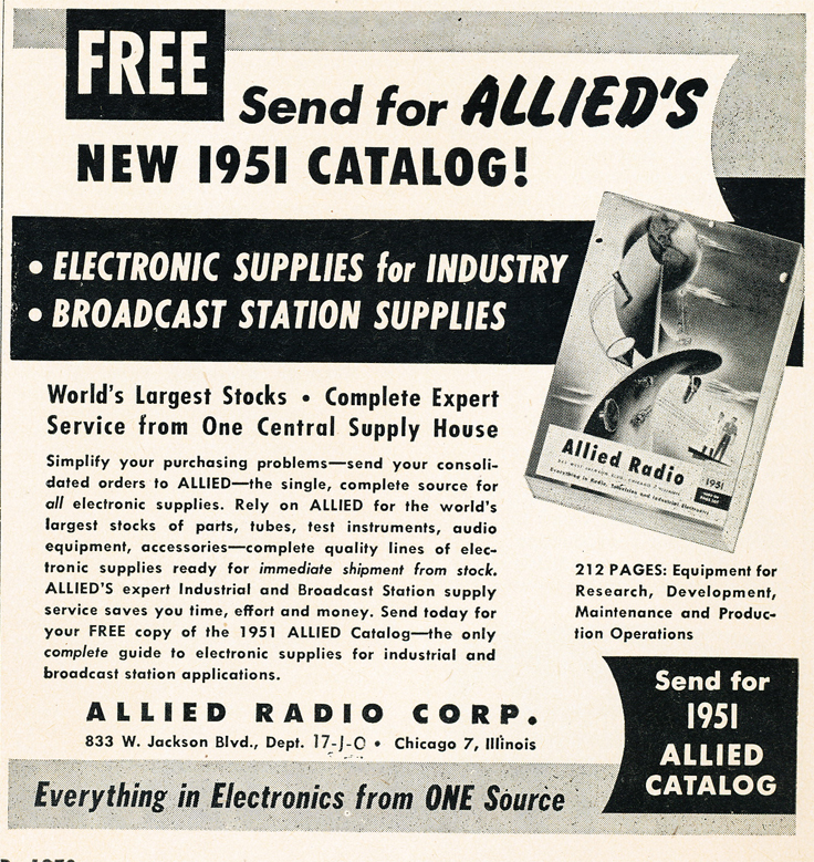1950 ad for the 1951 Allied Radio catalog in Reel2ReelTexas.com's vintage recording collection