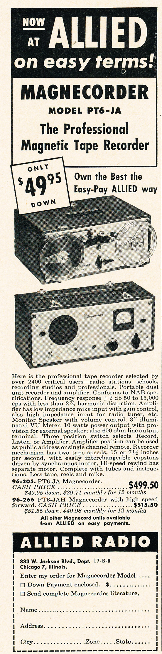 1950 Allied Radio ad featuring magnecord reel to reel  tape recorders in Reel2ReelTexas.com's vintage recording collection